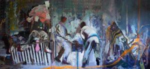 Rudi Kargus, Schlachten, Öl auf Leinwand, Tryptichon, 300 x 140 cm, © Haus Bartleby
