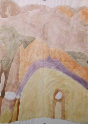 Rosa Rücker, o.T., Gouche und Bleistift auf Papier, DIN A4, Extra: Dazu eine Legende (s/w-Ausdruck) // Foto: Kunstv. Neuk. e.V.