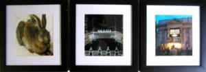 "Ángela Lambea und Andreas Voigt, o.T., Tryptichon zu ""Das Kapitalismustribunal"", 3 Bilder je 23 × 23 cm (mit Rahmen), Fotografie, Glas, Holzrahmen (schwarz) // Foto: Kunstv. Neuk. e.V."