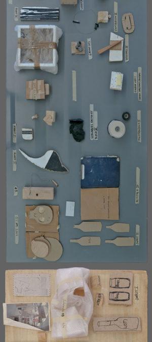 Ausschnitt aus: Tische Salon Kartenrecht, 2013 Karton, Gummi, Klebeband, Holz, Schaumstoff, Vinyl, div. Objekte, 600 x 100 x 80 cm, Foto: Kartenrecht