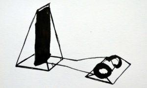 """Sebastian Omatsch, """"Donnerblech Skizze 01"""", Skizze zum kinetischen Objekt – Donnerblech, 2017, Tusche auf Papier, 11 x 16,5 cm, Foto: Sebastian Omasch"""