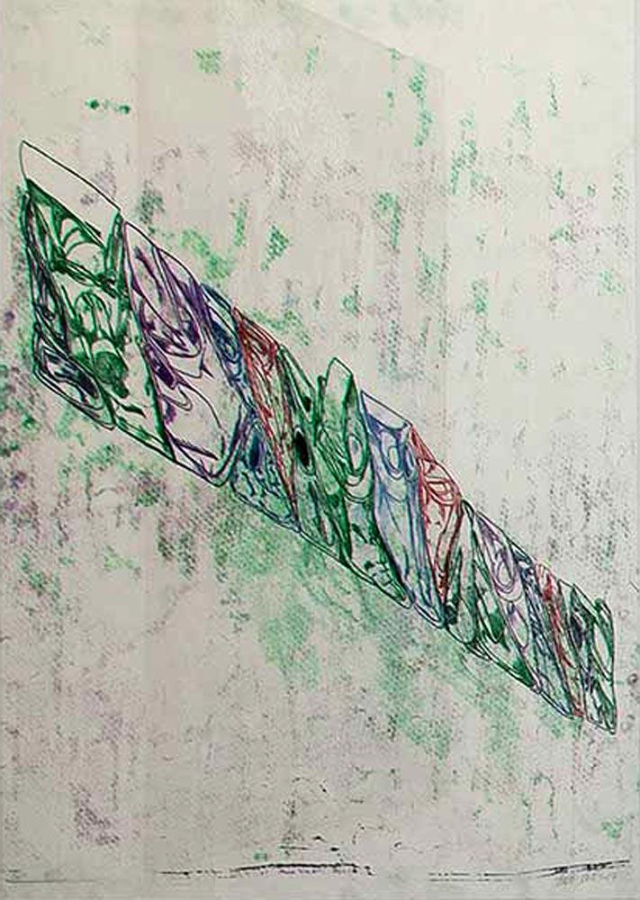 "Bodo Rott, ""17 Kannen"", 2017, Monotypie, Öl auf Papier, 102 x 72 cm, Foto: René Moritz"