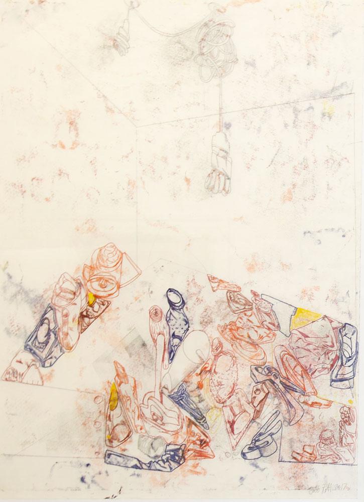 """Bodo Rott, """"Atelier"""", 2017, Monotypie, Öl auf Papier, 102 x 72 cm, Foto: René Motiz"""