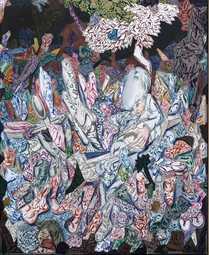 """Bodo Rott, """"Dree Keneesen (Lied am Ende der Zeit), 2018, Öl, Tuch, 160 x 130 cm, Foto: René Motiz"""