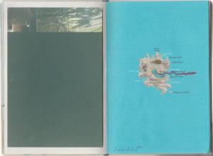 """Dana Engfer & Max Sudhues, """"Inseln"""", 2018, Buchdoppelseite aus Künstlerbuch, 16,5x22 cm (ausgeklappt), Foto: Dana Engfer & Max Sudhues"""