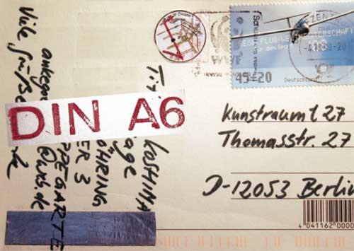 """Postkarte """"Din A6"""" Mail-Art-Ausstellung 2009"""