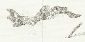 """Künstlerin: Aneh Ondare, """"Wie ein Ei, noch mehr"""", Illustration zur 7. Reise von Stanislaw Lem, 2019, Graphit u. Blattgold auf Hahnemühle"""