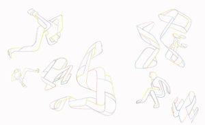 """Künstler: FD Schlemme, """"Oxymoron p1"""" & """"Oxymoron p2"""", 2019, Buntstift auf Papier"""
