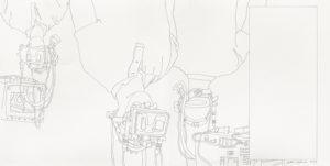 """Künstler: Matthias Beckmann, """"Astronauten im Deutschen Technikmuseum Berlin"""", 2019, Bleistift auf Papier"""