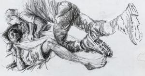 """Künstlerin: Ulrike Dornis, """"Die Siebente Reise"""", 2019, Zeichnung/Druck auf Fotorag"""