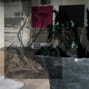 "Max Sudhues, ""Arkadien"", (Skizze), 2019, 1 Videoprojektor, 1 Overheadprojektor, Materialien vor Ort gefunden, 1 gerahmtes Foto, ortsbezogene Installation, variabel Foto: © Max Sudhues (VG Bildkunst)"