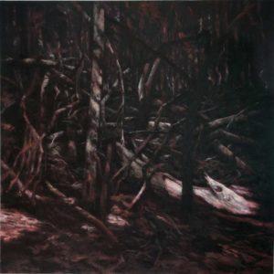 """Sid Gastl, """"Zustand der Überprüfung (Wald IV)"""", 2011, Öl/Wachs auf Leinwand, 200 x 200 cm, Foto: © Sid Gastl"""