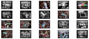 """Monika Anselment, """"That's what we see from Palestine daily fresh at dinnertime"""", Aus dem Zyklus: Anmerkungen, 2000 - 2007, 11 S/W-Fotos und 9 Colorprints auf Aludibond hinter Acrylglas, à 37 x 50 cm, gesamt ca. 163 x 220 cm, Foto: Monika Anselment (VG Bild-Kunst)"""