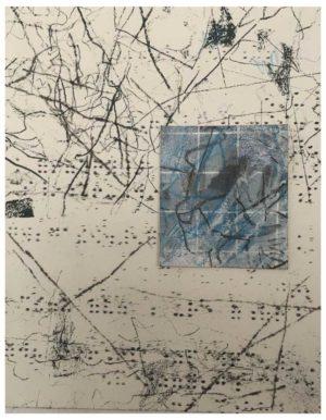 """Lara Faroqhi, """"Hinterhof (Nr.1)"""", 21,5 x 14,5 cm, Siebdruck, Gouache, Buntstift und Wachsstiftpause auf Papier, Foto: Lara Faroqhi"""