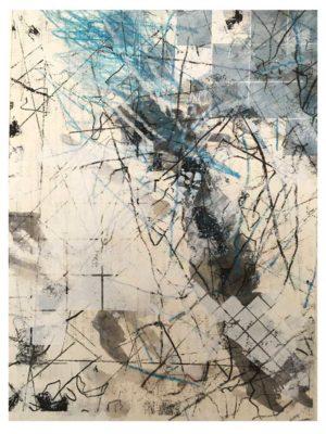 """Lara Faroqhi, """"Hinterhof (Nr.2)"""", 21,5 x 14,5 cm, Siebdruck, Gouache, Buntstift und Wachsstiftpause auf Papier, Foto: Lara Faroqhi"""