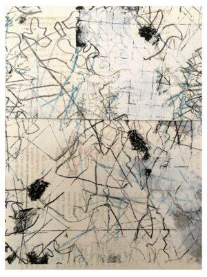 """Lara Faroqhi, """"Hinterhof (Nr.3)"""", 21,5 x 14,5 cm, Siebdruck, Gouache, Buntstift und Wachsstiftpause auf Papier, Foto: Lara Faroqhi"""