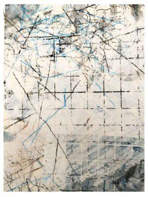 """Lara Faroqhi, """"Hinterhof (Nr.4)"""", 21,5 x 14,5 cm, Siebdruck, Gouache, Buntstift und Wachsstiftpause auf Papier, Foto: Lara Faroqhi"""