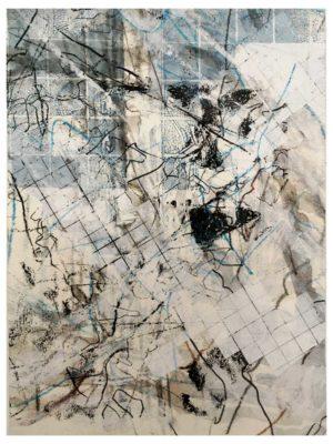 """Lara Faroqhi, """"Hinterhof (Nr.5)"""", 21,5 x 14,5 cm, Siebdruck, Gouache, Buntstift und Wachsstiftpause auf Papier, Foto: Lara Faroqhi"""