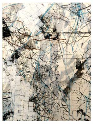 """Lara Faroqhi, """"Hinterhof (Nr.6)"""", 21,5 x 14,5 cm, Siebdruck, Gouache, Buntstift und Wachsstiftpause auf Papier, Foto: Lara Faroqhi"""
