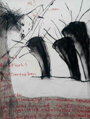 """Ursula Antesberger, """"Mutterland und Vatersprache"""", 2009, Collage, Kohle, Kreide auf Papier und Schnittmuster, 90 x 70 cm, Foto: Ursula Antesberger"""