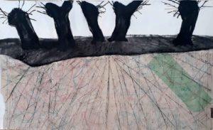 """Ursula Antesberger, """"Flaches Land"""" 2009, Collage, Kohle, Kreide auf Papier und Schnittmuster, 100 x 130 cm, Foto: Ursula Antesberger"""